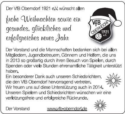 weihnachtsw nsche 2013 vfb oberndorf 1921 e v. Black Bedroom Furniture Sets. Home Design Ideas